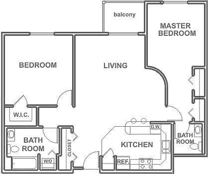 2 Bedrooms ~ 2 Baths 1,050 sq. ft.