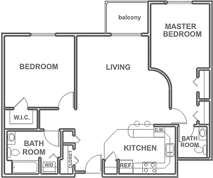 2 Bedrooms ~ 2 Baths 1,005 sq. ft.