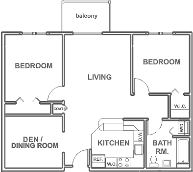 2 Bedrooms ~ 1 Baths w/ Dining Room 945 sq. ft.